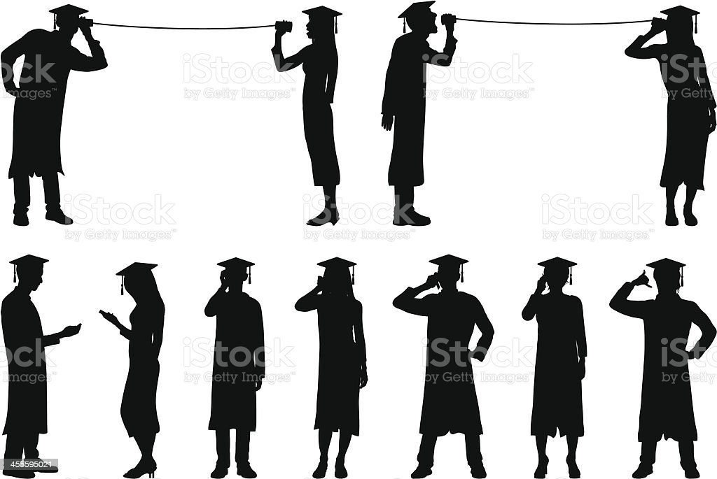 Graduates with Phones royalty-free stock vector art