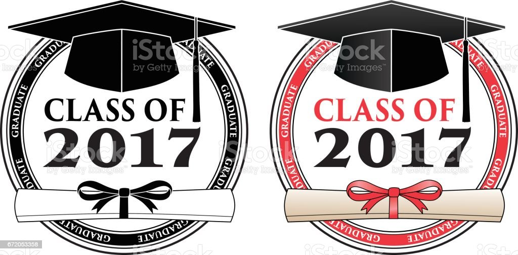 Graduating Class of 2017 - Vector vector art illustration