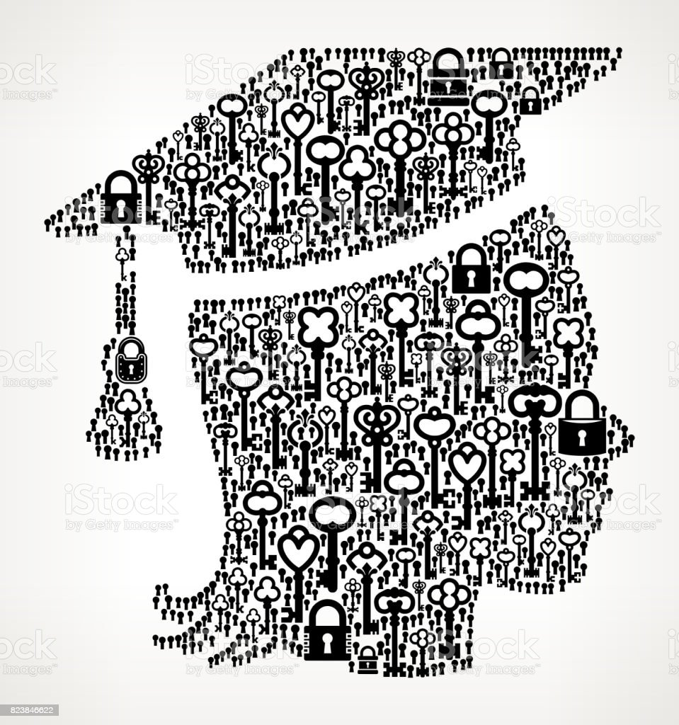Graduating Female Antique Keys Black and White Vector Pattern vector art illustration