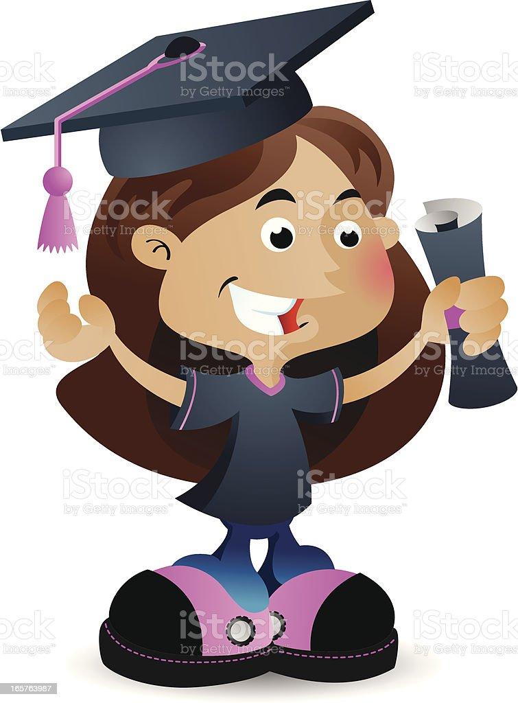 Graduating Girl vector art illustration