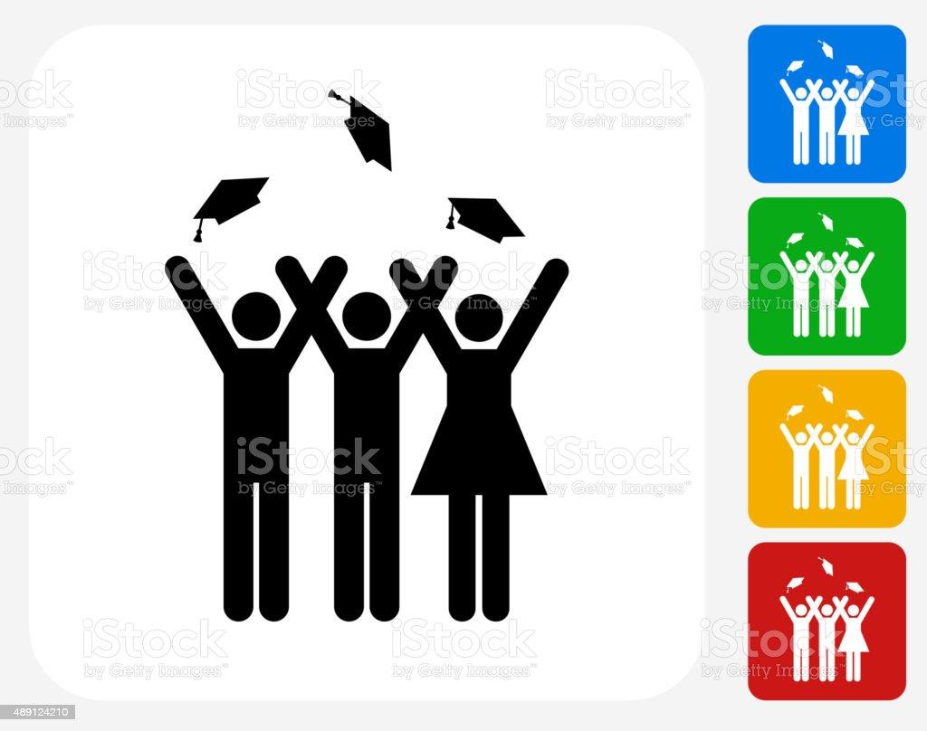 Graduating Stick Figures Icon Flat Graphic Design vector art illustration