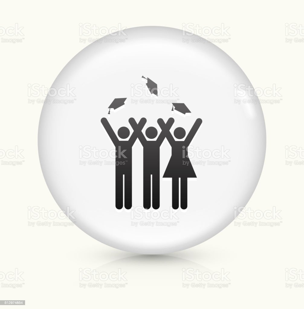 Graduating Stick Figures icon on white round vector button vector art illustration