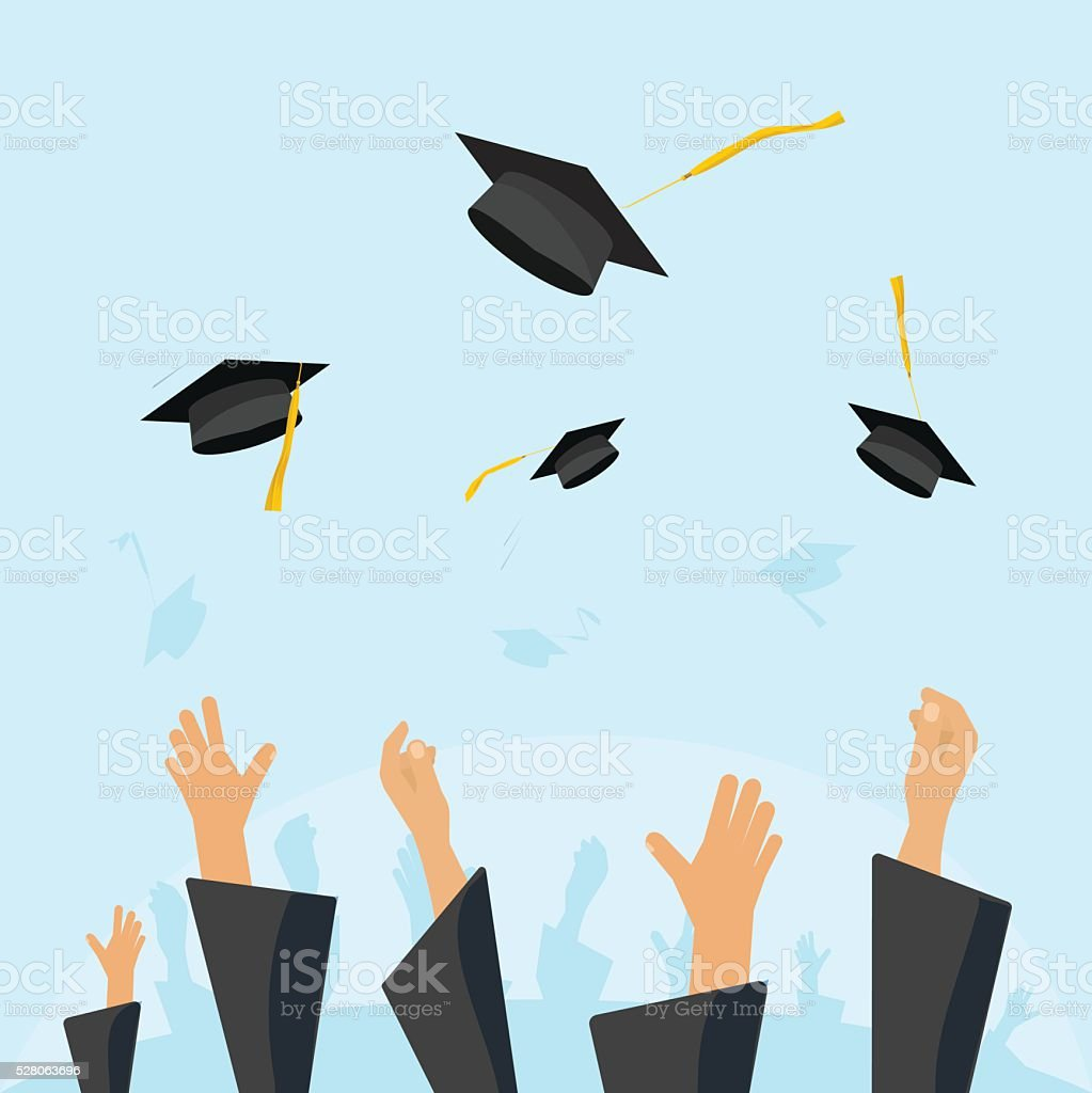 Graduating students pupil hands gown throwing caps in the air vector art illustration