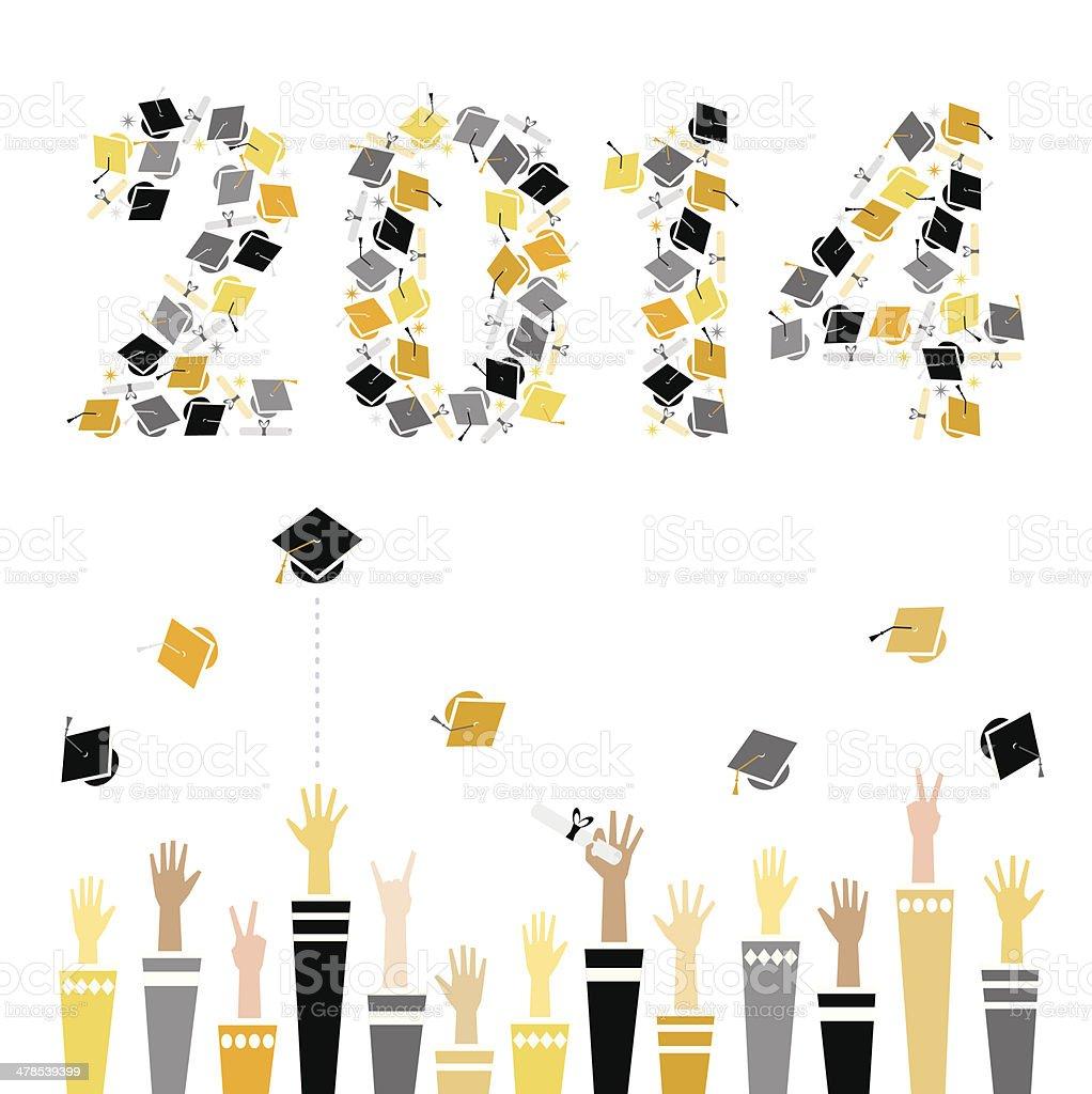 Graduation 2014 Celebration vector art illustration