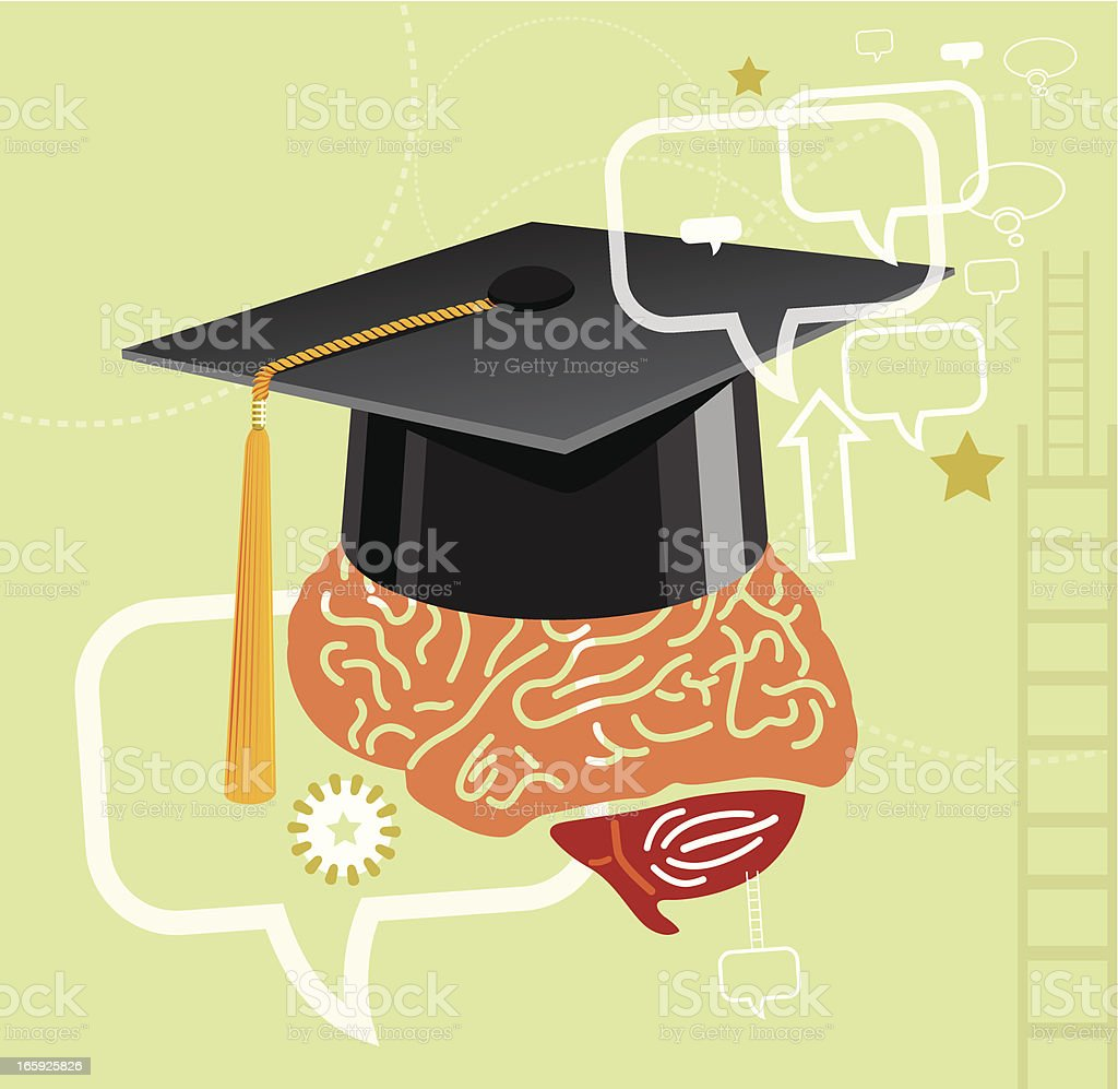 Graduation and Brain vector art illustration
