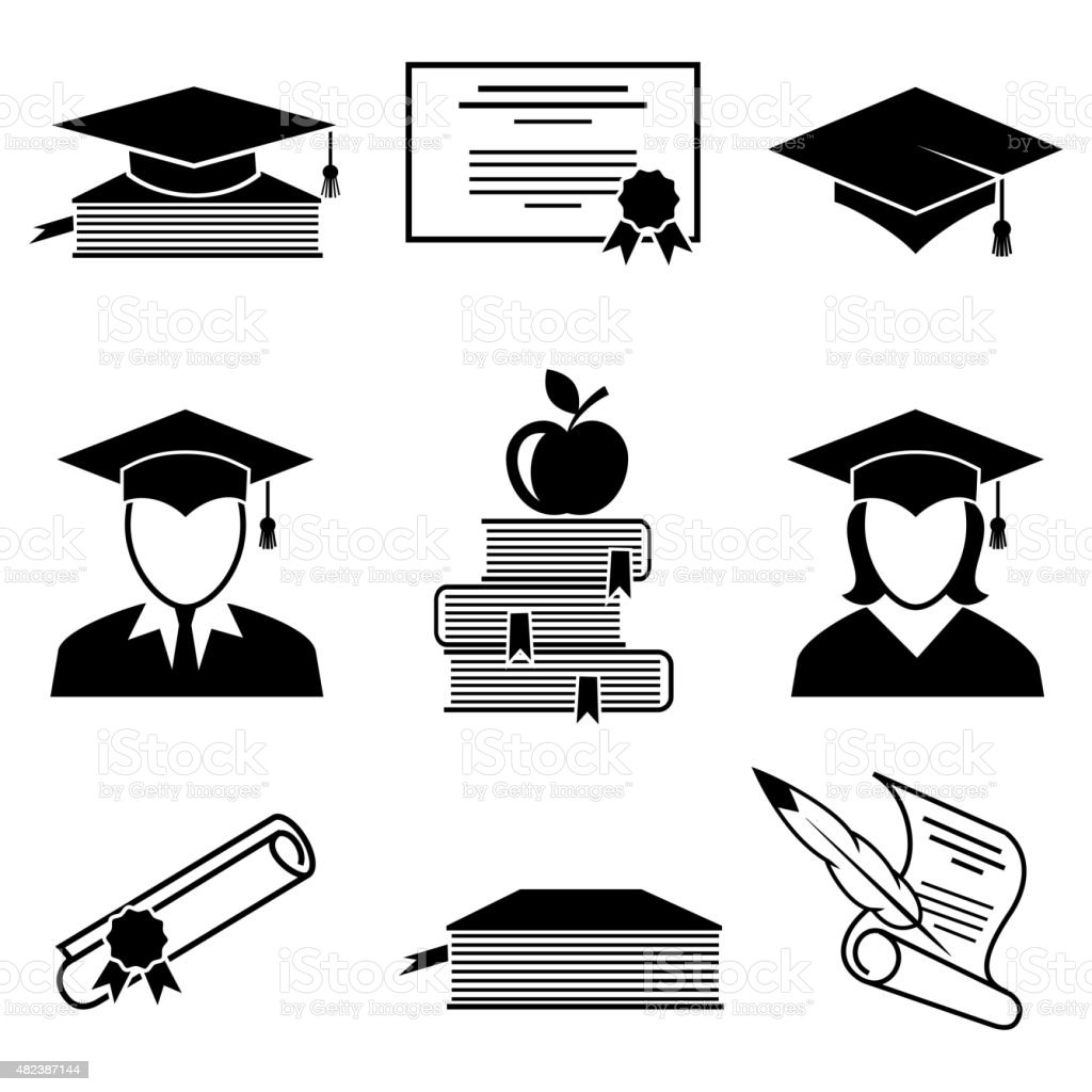 Graduation and education icons vector art illustration