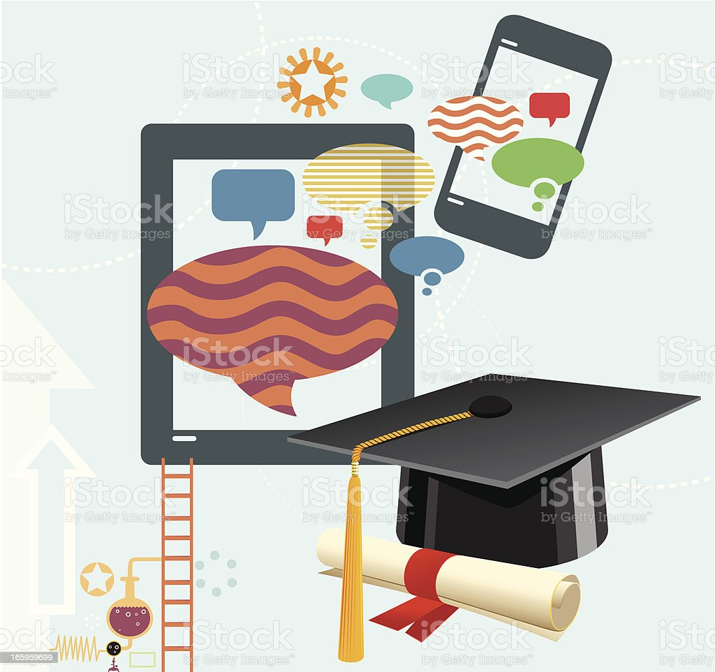 Graduation and Social Media vector art illustration