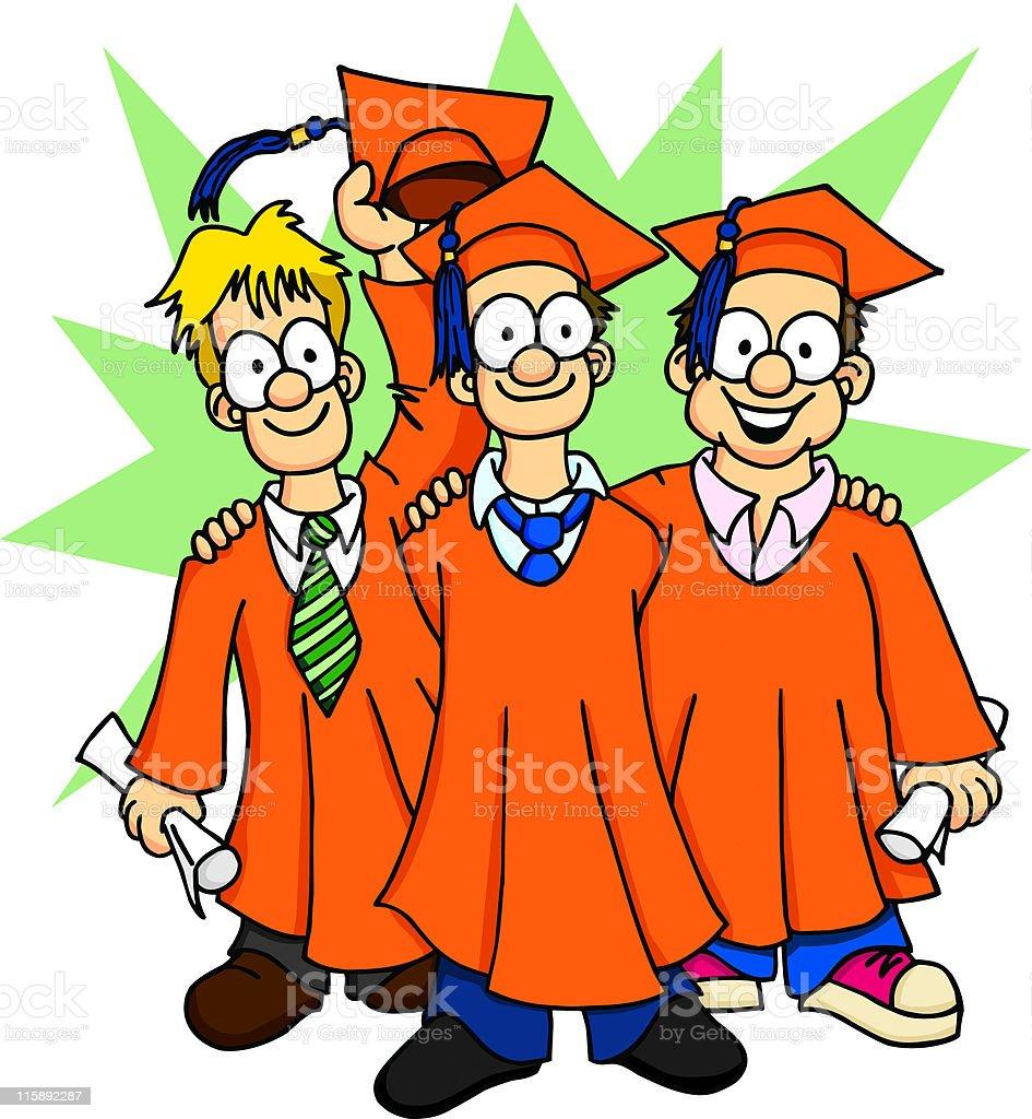 Graduation Buddies royalty-free stock vector art