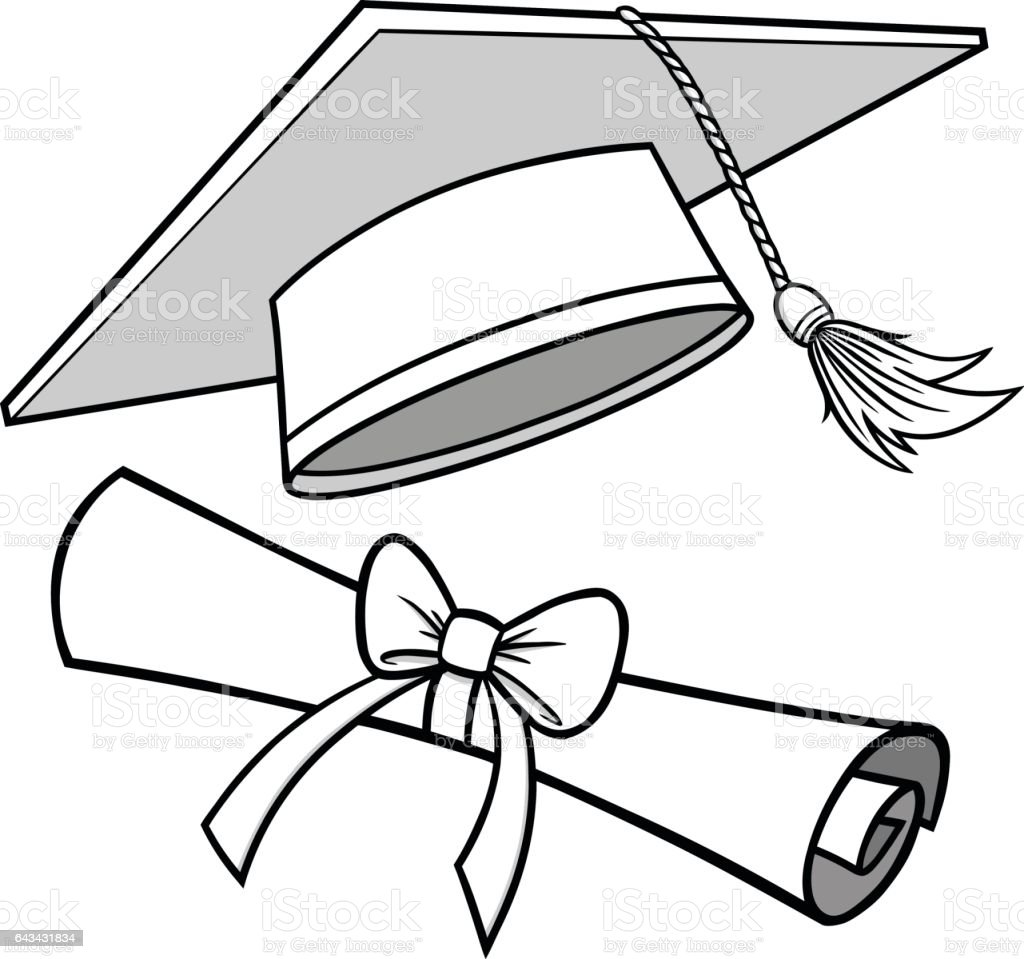 Graduation Cap And Diploma Illustration stock vector art ...