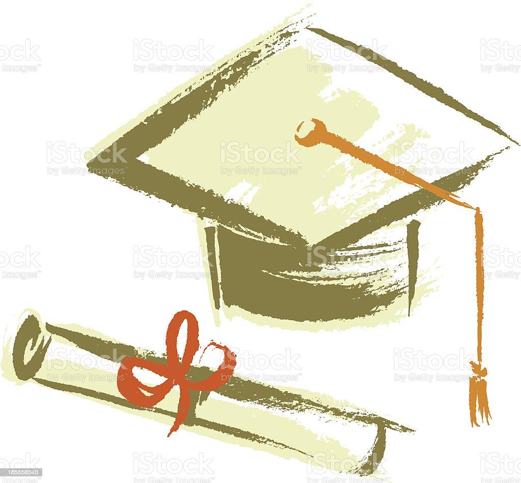 Graduation Cap and Diploma royalty-free stock vector art