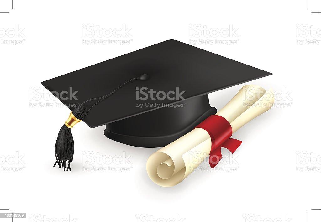 Graduation cap and diploma vector art illustration