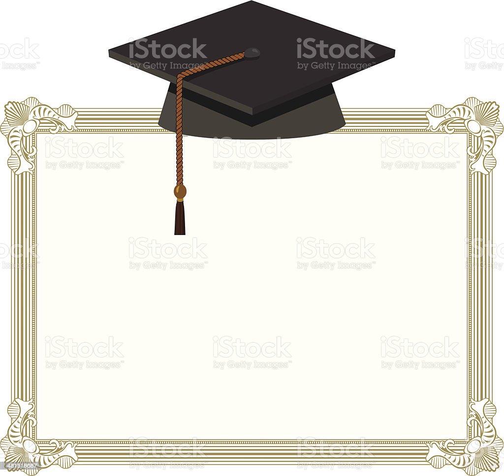 Graduation Cap - Black Mortarboard on Diploma vector art illustration