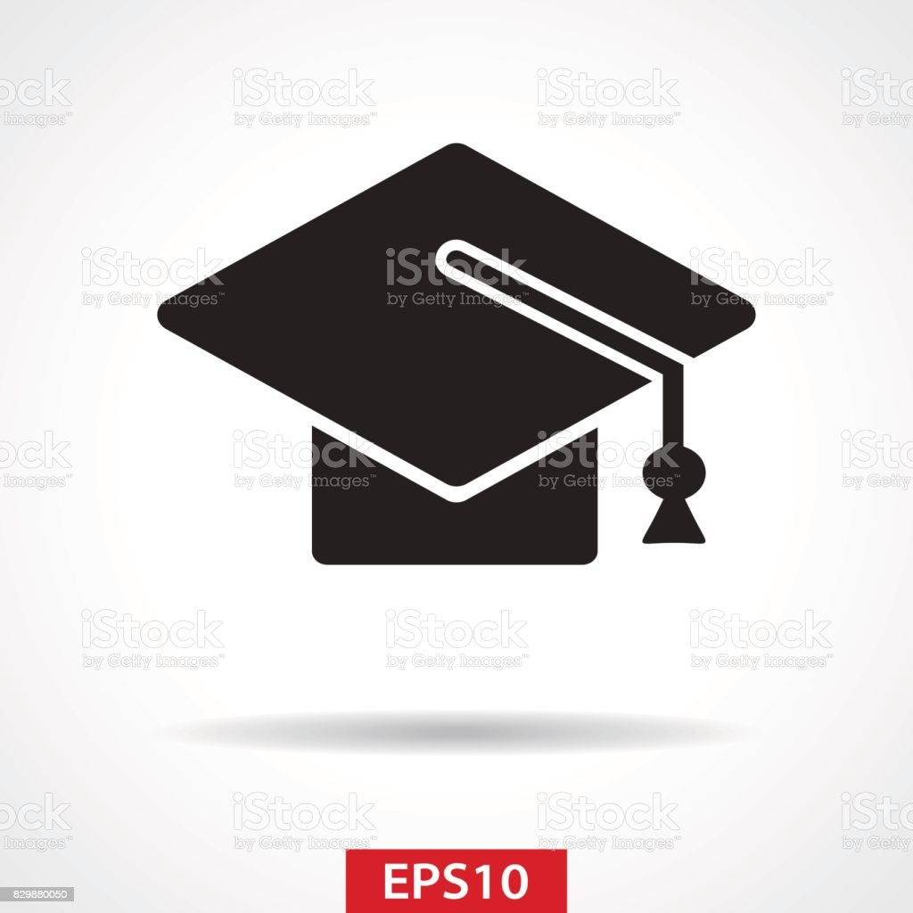 Graduation Cap Flat Icon - Vector Illustration vector art illustration