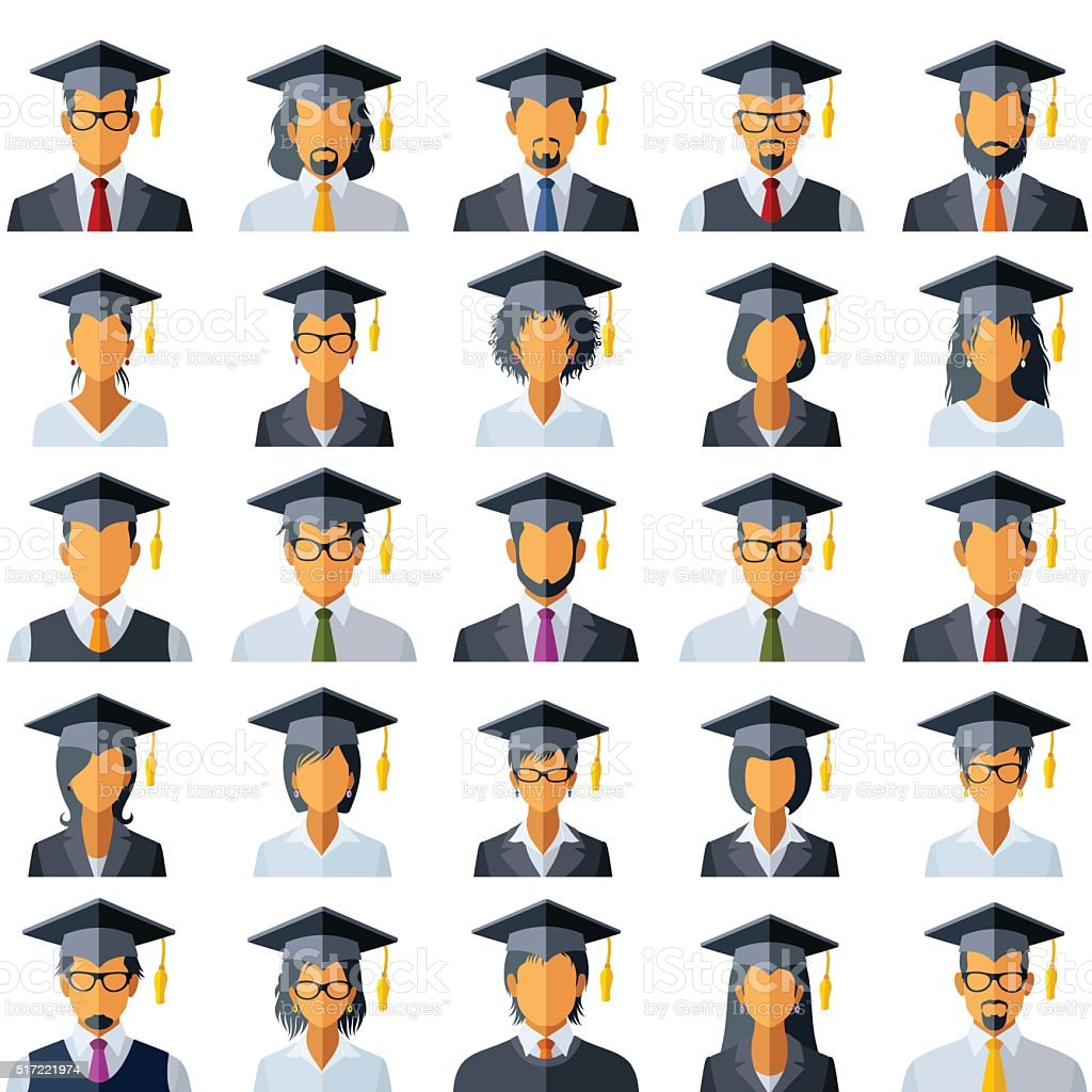 Graduation Cap Icons vector art illustration