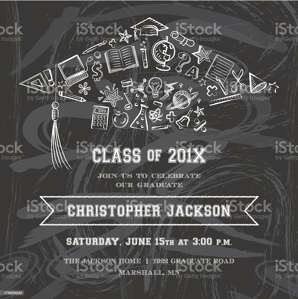 Graduation Cap Invitation vector art illustration