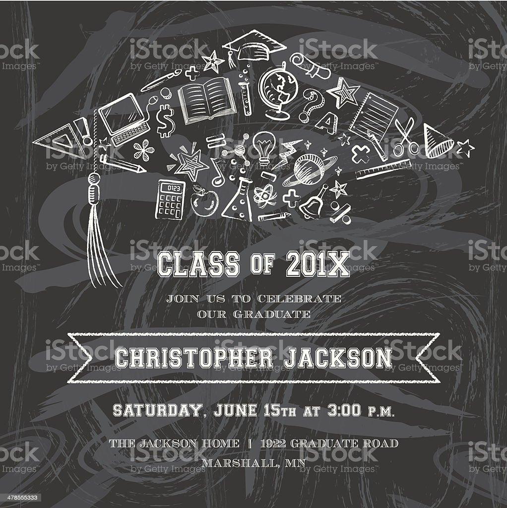 Graduation Cap Invitation vector art illustration