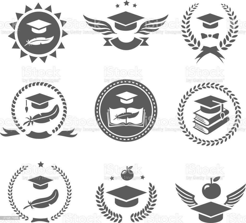 Graduation cap labels set.  College study, diploma and hat vector art illustration