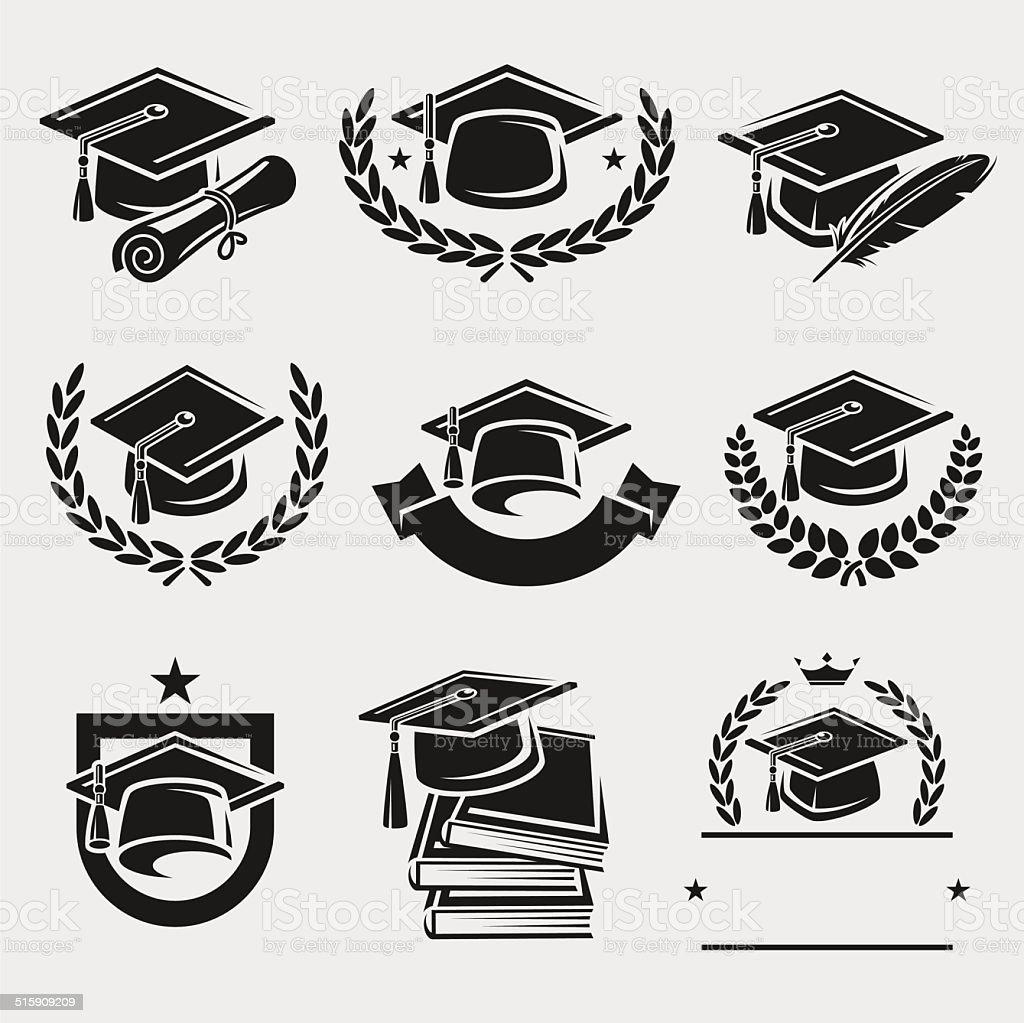 Graduation cap labels set. Vector vector art illustration