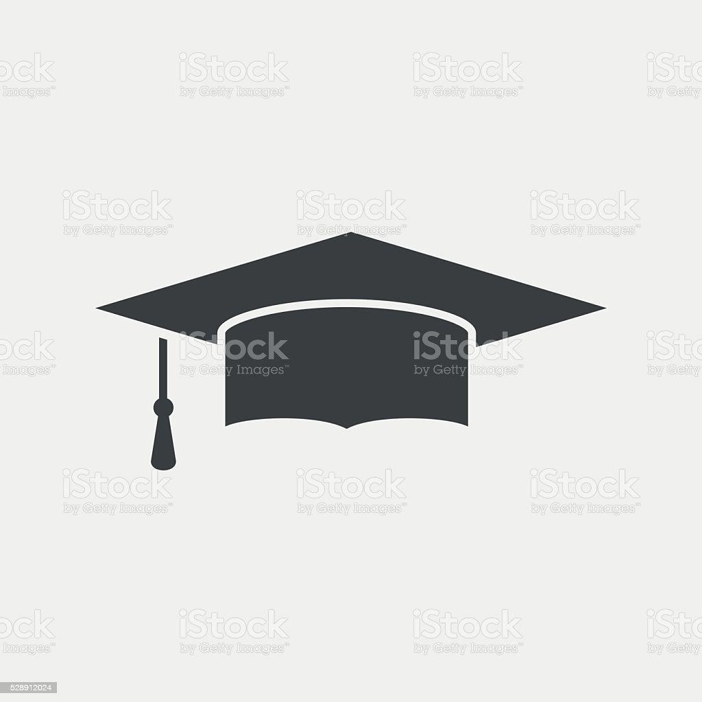 Graduation cap monochrome icon vector art illustration