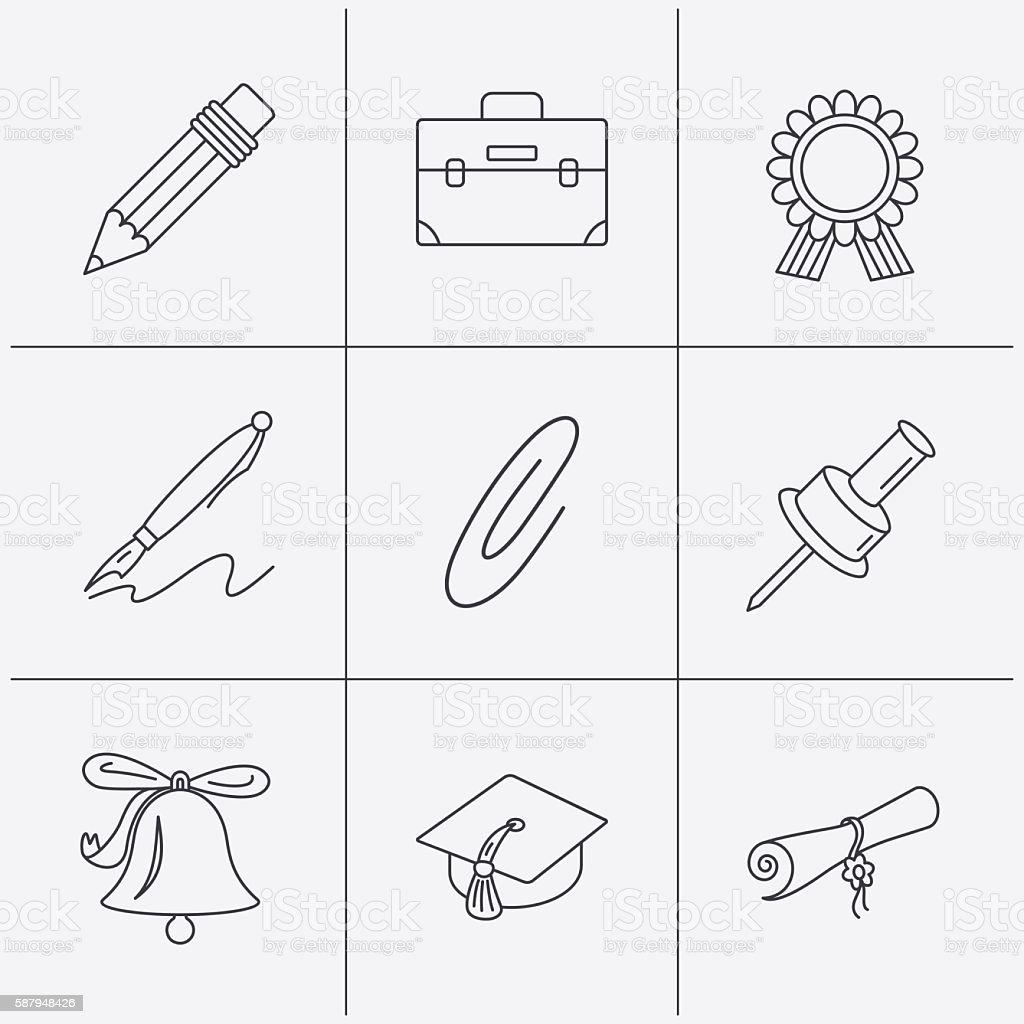 Graduation cap, pencil and diploma icons. vector art illustration