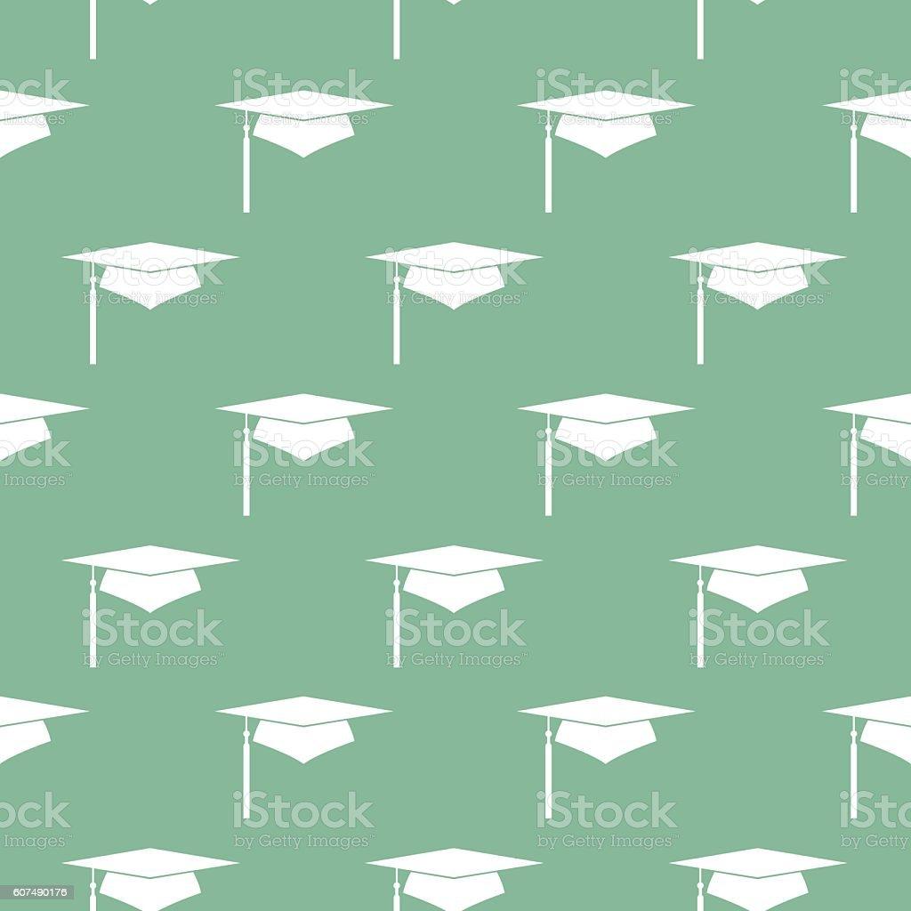 Graduation Cap Seamless Pattern vector art illustration
