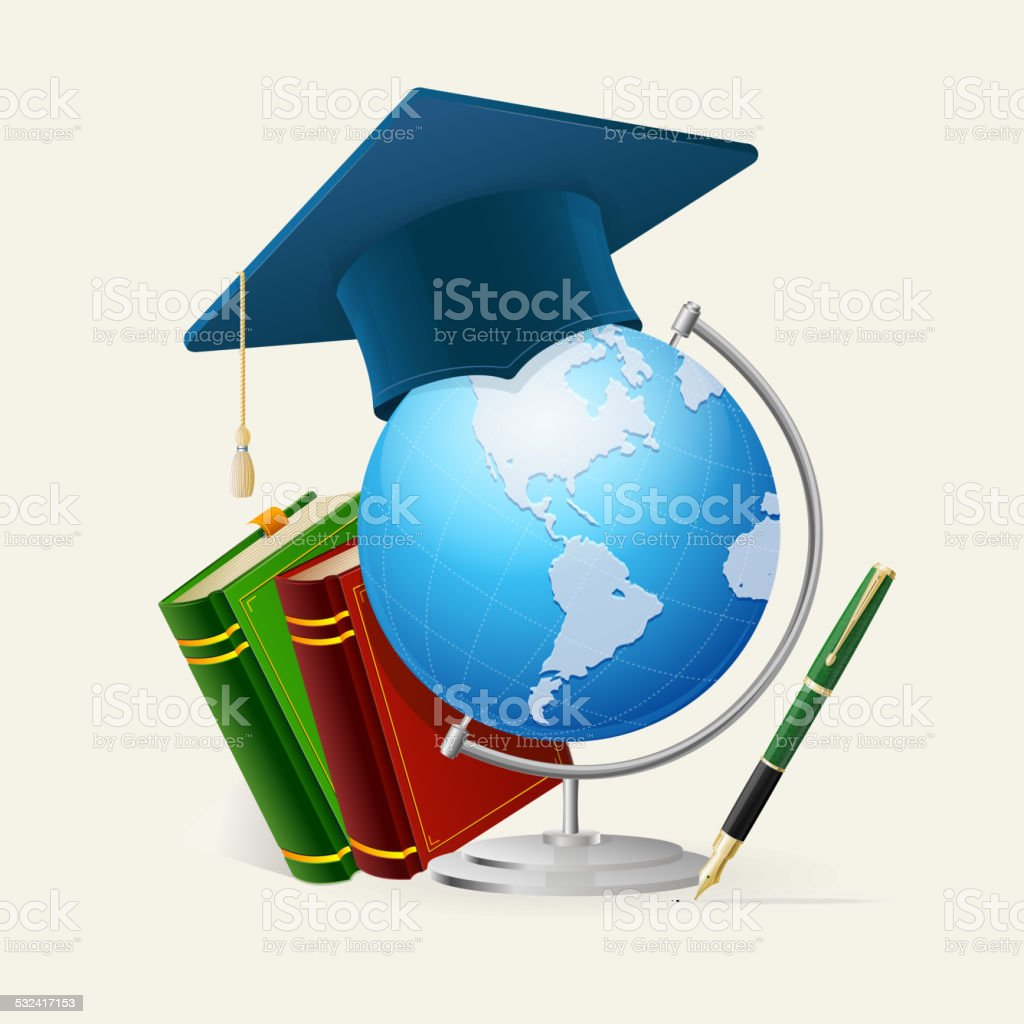 Graduation cap, stack of books, globe, and pen. vector art illustration