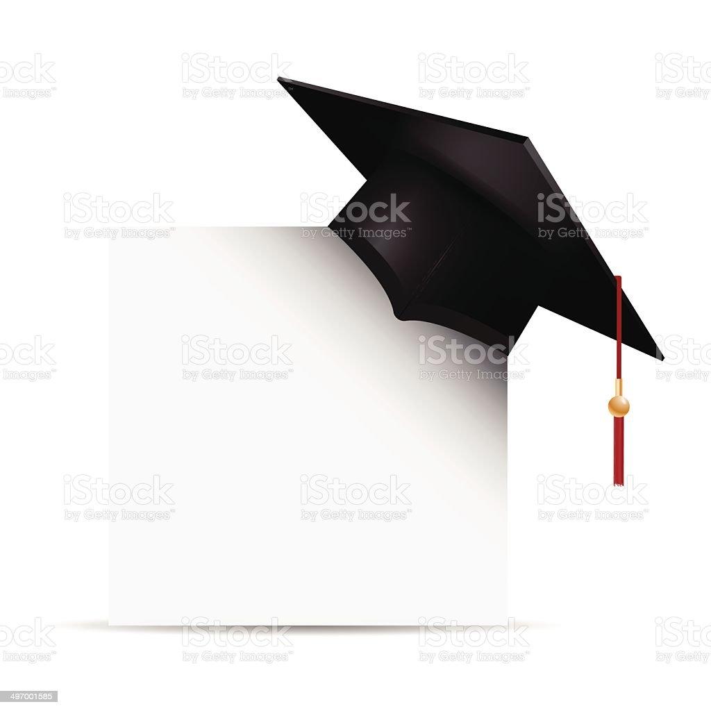 Graduation cap with blank sign vector art illustration