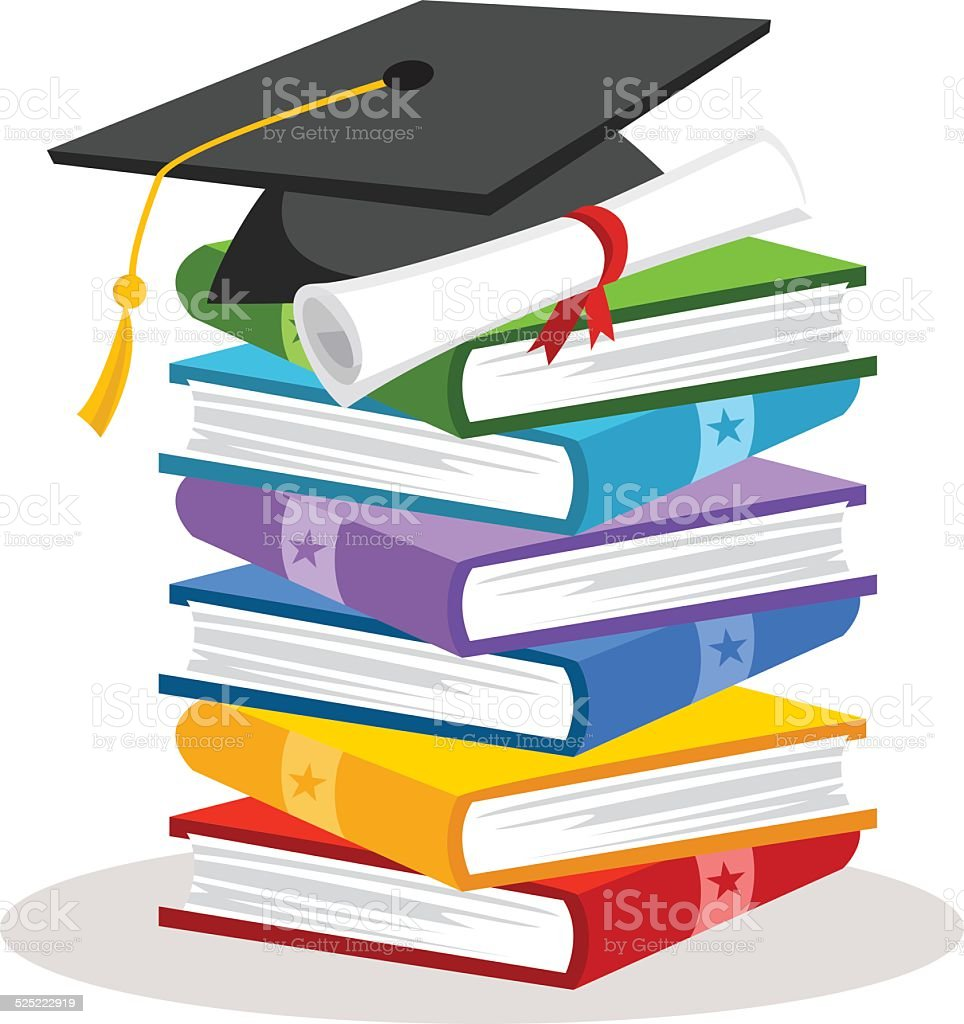 Graduation cap with books and certificate. Education. vector art illustration