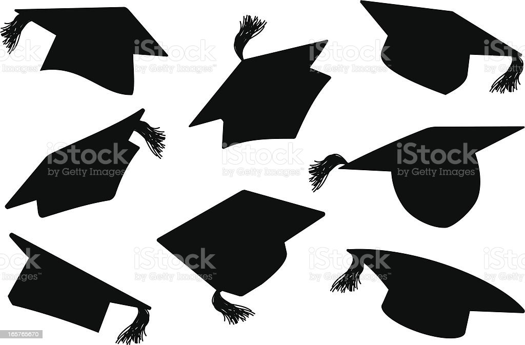 Graduation Caps / MortarBoards vector art illustration