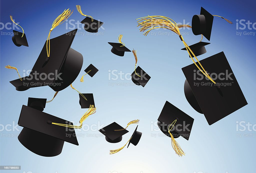 Graduation caps thrown in the air vector art illustration