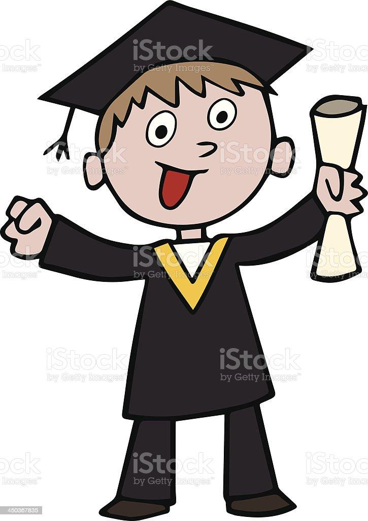 Graduation cartoon celebration vector art illustration
