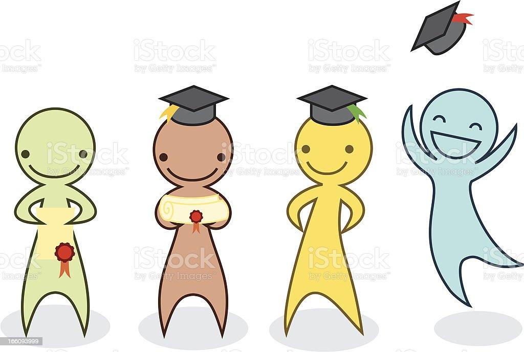 Graduation cartoon pack. royalty-free stock vector art