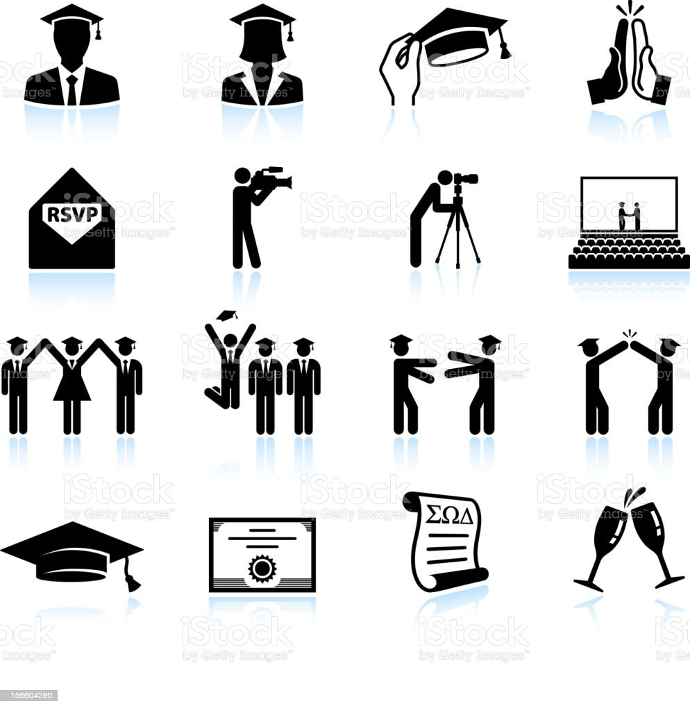 Graduation celebration black & white royalty free vector icon set royalty-free stock vector art