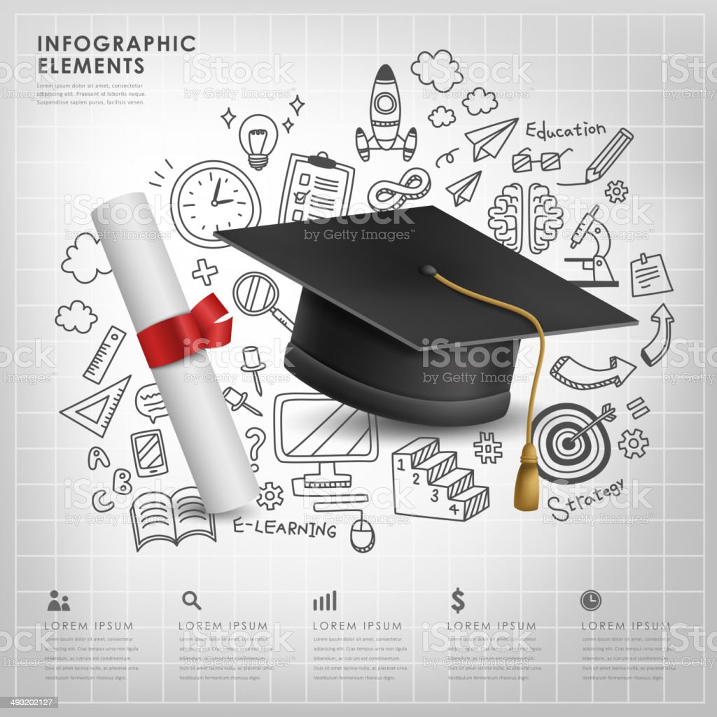 graduation concept vector illustration infographics vector art illustration