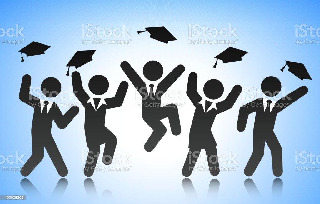 Graduation Day Hat Toss Celebration royalty-free stock vector art