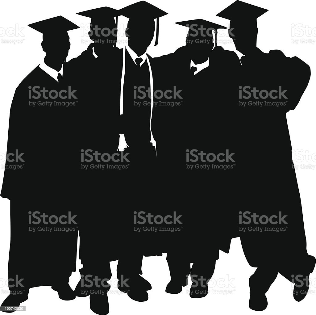 Graduation day men wearing their cap and gown royalty-free stock vector art