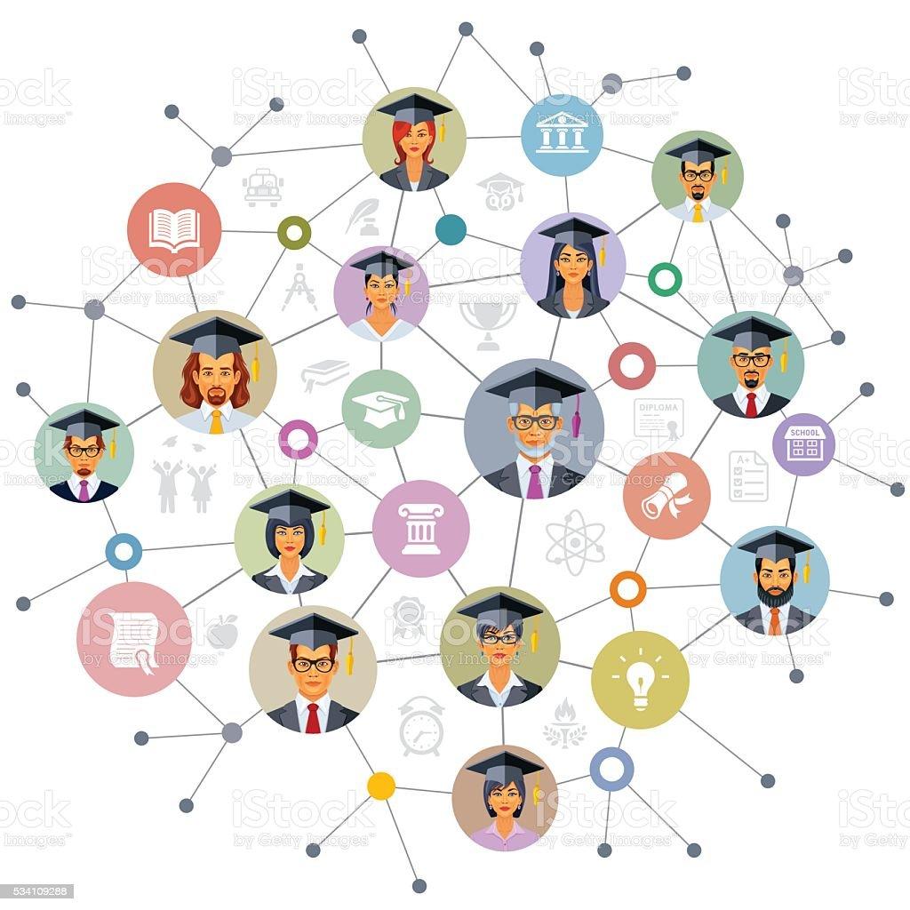 Graduation Design vector art illustration