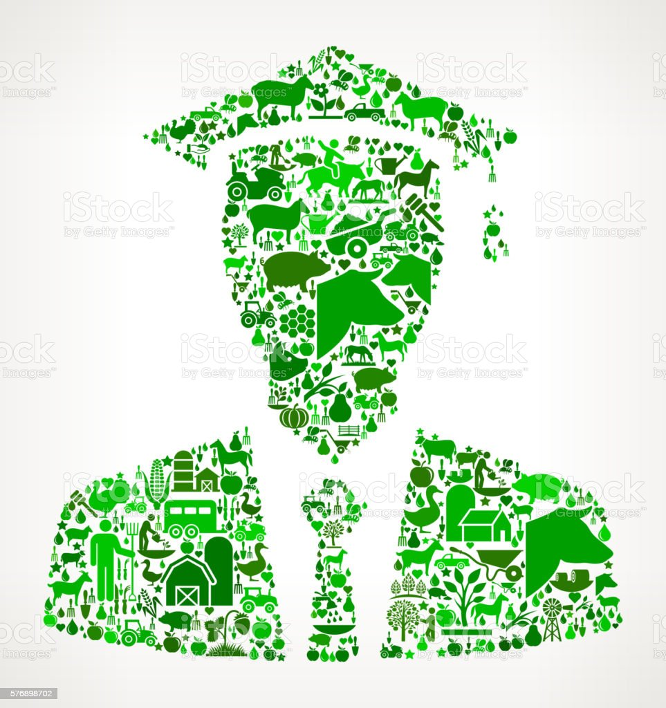 Graduation Face Farming and Agriculture Green Icon Pattern vector art illustration