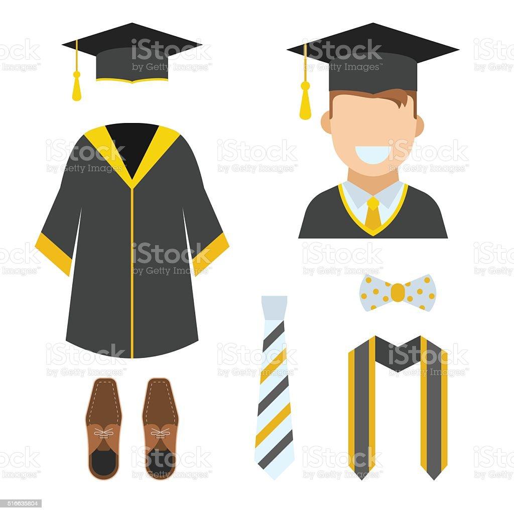 Graduation Garment and Accessories Icons vector art illustration