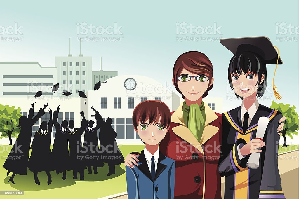 Graduation girl with mother and brother royalty-free stock vector art
