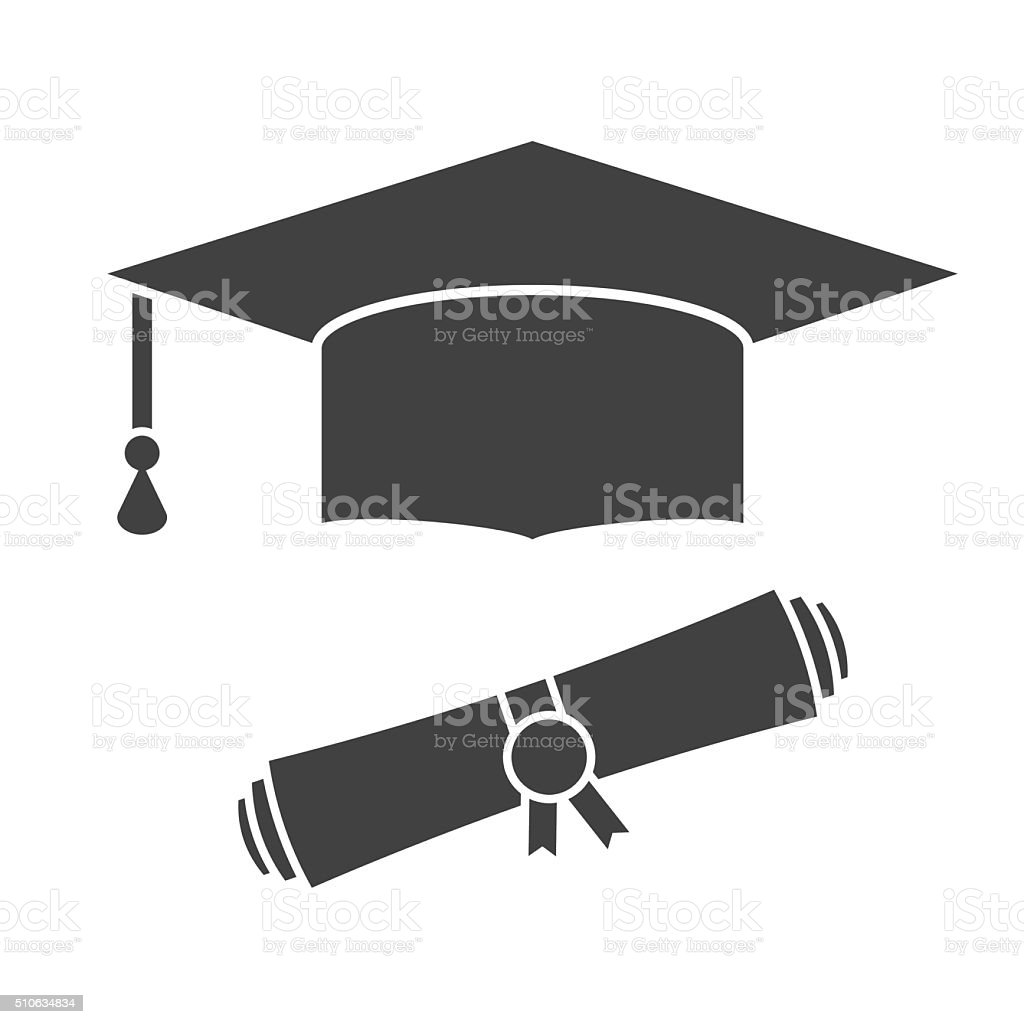 Graduation Hat and Diploma Outline Icon vector art illustration