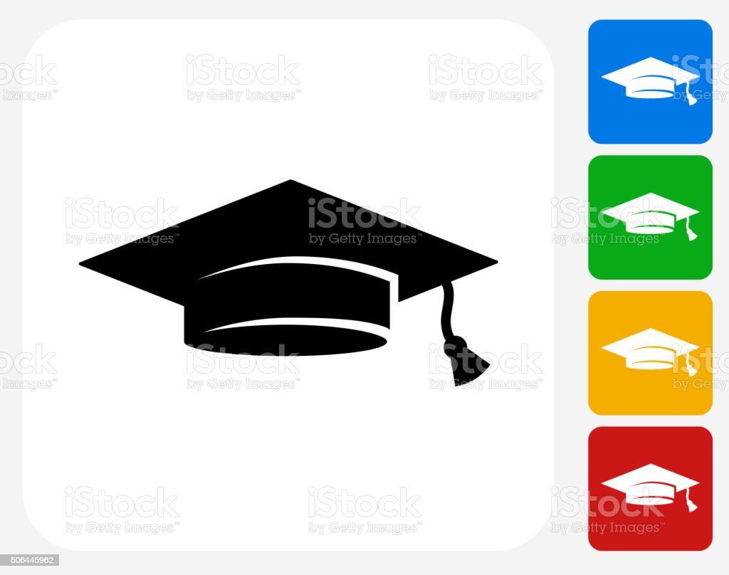 Graduation Hat Icon Flat Graphic Design vector art illustration