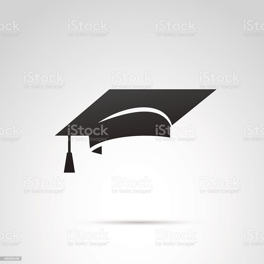 Graduation hat icon. vector art illustration
