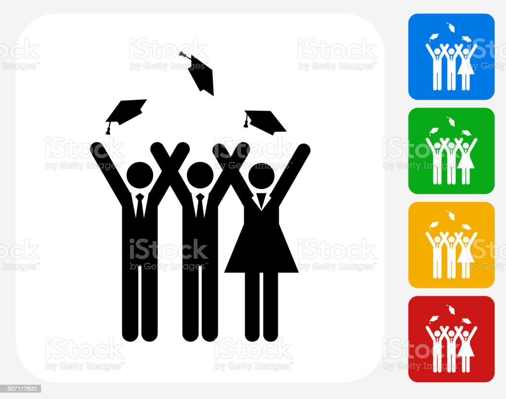 Graduation Icon Flat Graphic Design vector art illustration