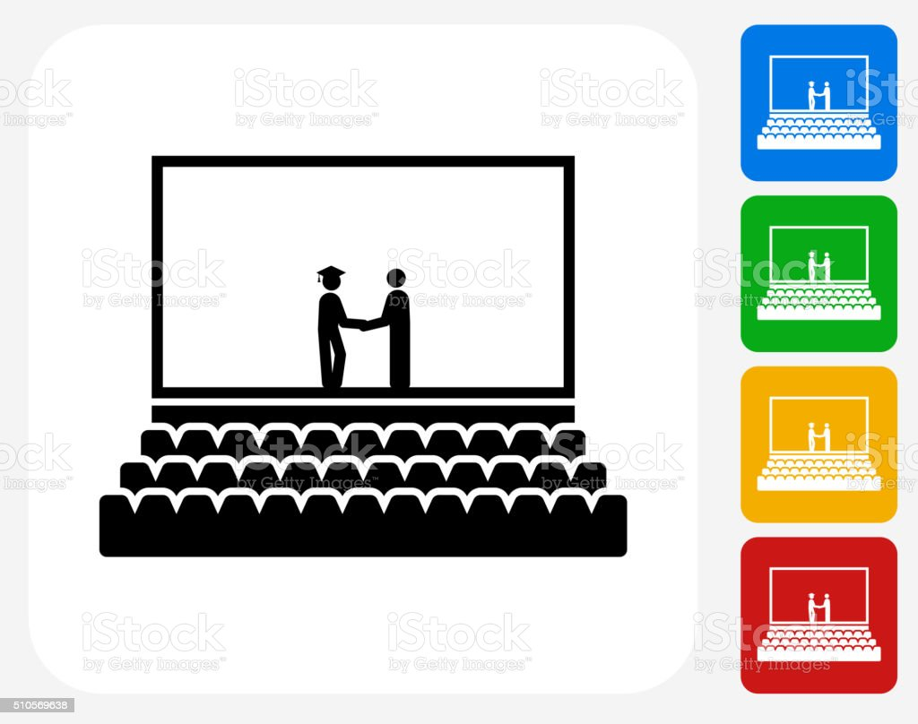 Graduation Icon Flat Graphic Design vector art illustration
