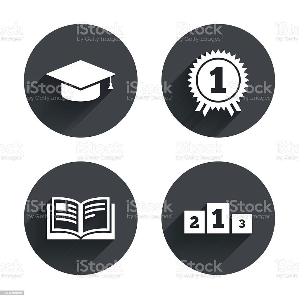 Graduation icons. Education book symbol vector art illustration
