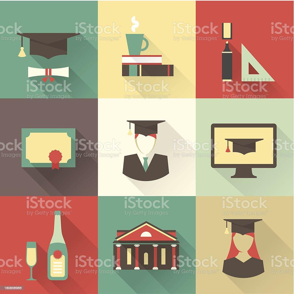 graduation icons vector art illustration