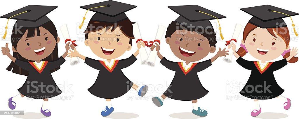 Graduation kids celebration isolated vector art illustration