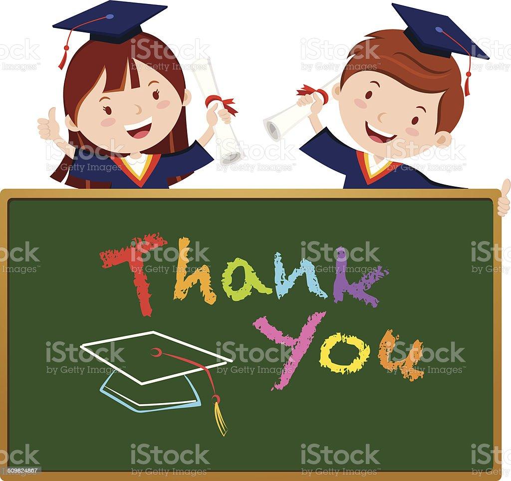 Graduation kids with board vector art illustration