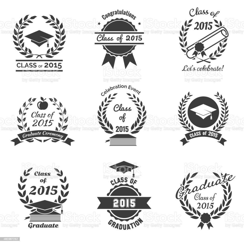 Graduation labels. High School and congratulations graduate logo set vector art illustration